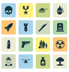 Warfare icons set collection of military panzer vector