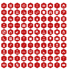 100 profession icons hexagon red vector image vector image