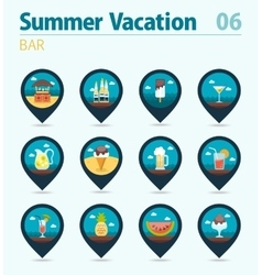Bar beach pin map icon set summer vacation vector