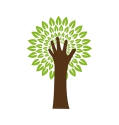 Leaf hand green plant nature season icon vector