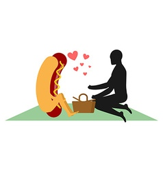 Hot dog on picnic date in park fast food and vector