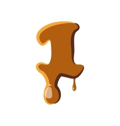 Number 1 from caramel icon vector