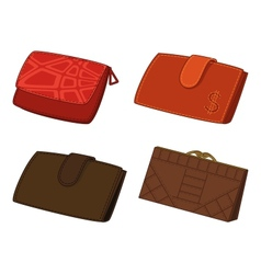 Leather wallets set vector
