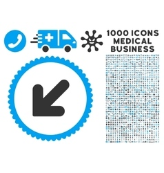 Arrow down left icon with 1000 medical business vector
