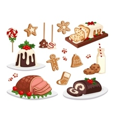 Christmas food set vector image