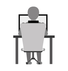 Guy back working laptop chair desk monochromatic vector