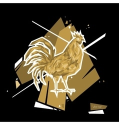 Golden rooster symbol 2017 polygon style vector