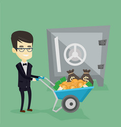 business man depositing money in bank in safe vector image