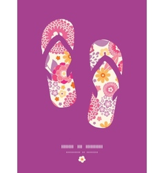 Warm summer plants flip flops pattern background vector image