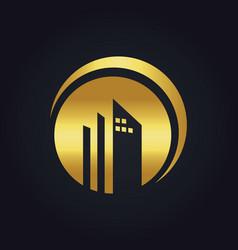 Round building company gold logo vector