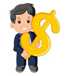 businessman holding dollar sign vector image