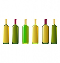 Six bottles of white wine vector