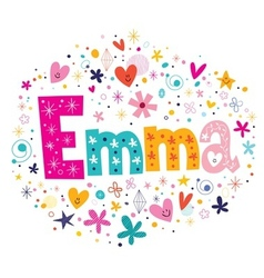 Emma female name decorative lettering type design vector