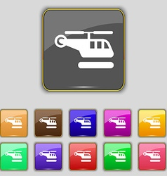Helicopter icon sign set with eleven colored vector