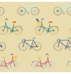 Perfect seamless pattern with colorful bikes vector