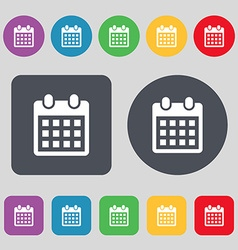Calendar page icon sign a set of 12 colored vector
