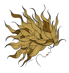 Profile of a beautiful girl with long hair vector
