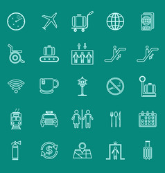 Airport line color icons on green background vector