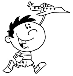 Child with toy plane cartoon vector image vector image