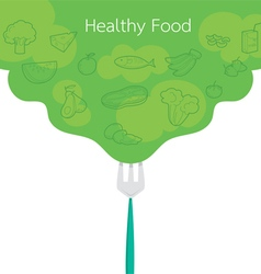 Clean food outline icons on green background vector