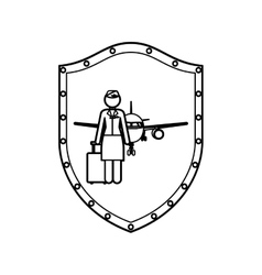 Contour shield of flight attendant and aeroplane vector