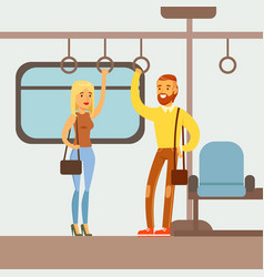 Couple standing in the metro train car part of vector