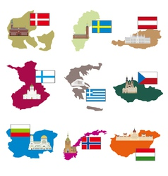 Flags and countries vector image