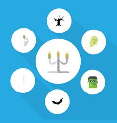 flat icon festival set of candlestick cranium vector image vector image