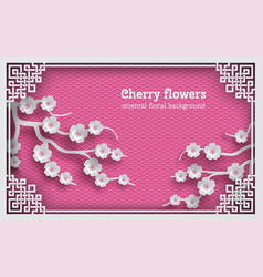 Floral pink oriental pattern background with vector