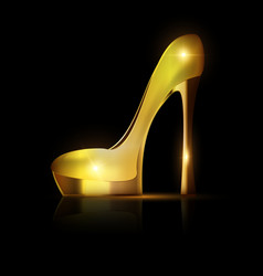 Golden yellow shoe vector