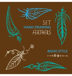 Hand drawn silhouettes of feathers in different vector image