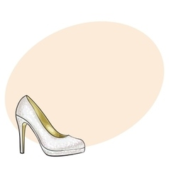 High heeled glittering elegant white colored vector