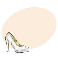 High heeled glittering elegant white colored vector