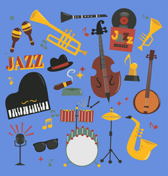 jazz musical instruments tools piano and vector image vector image