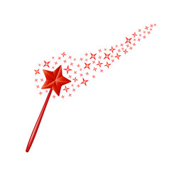 magic wand with stars in red design vector image
