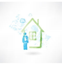 man and green house grunge icon vector image vector image