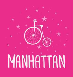 Manhattan text vintage retro lettering design vector