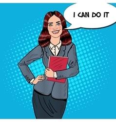 Pop art successful business woman holding folder vector