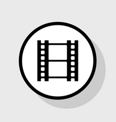 Reel of film sign flat black icon in vector