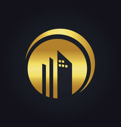 Round building company gold logo vector