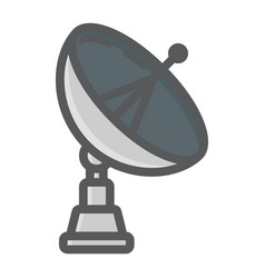 Satellite dish colorful line icon antenna vector
