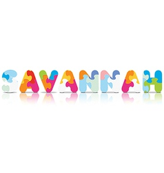 Savannah written with alphabet puzzle vector