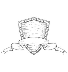 shield with ribbon banner hand drawn sketch vector image