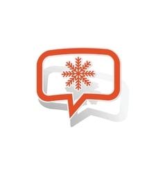 Snowflake message sticker orange vector image
