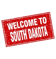 South dakota red square grunge welcome to stamp vector