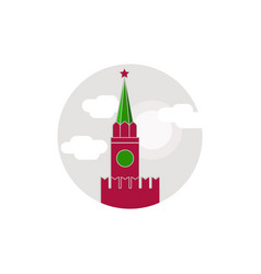 Symbols the flat round ikon the kremlin moscow vector