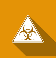 Triangle sign with a biohazard sign flat icon with vector