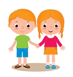 Two friends boy and girl vector image