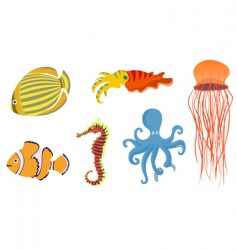 underwater fish icons vector image