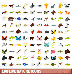 100 live nature icons set flat style vector